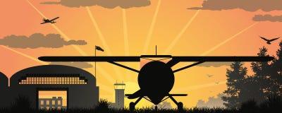 Заход солнца на авиаполе Стоковое Фото