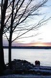 Заход солнца на английском заливе в парке Стэнли в Ванкувере Стоковые Фотографии RF