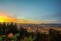 Заход солнца над Анси Стоковое Изображение RF