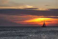Заход солнца на Аруба Стоковая Фотография RF