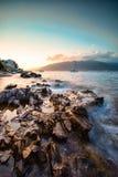 Заход солнца на Адриатическом море Стоковая Фотография