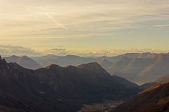 Заход солнца на Альпах и Prealps Стоковое фото RF