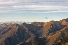 Заход солнца на Альпах и Prealps Стоковое Изображение RF