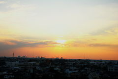 Заход солнца над Бангкок Стоковые Изображения RF