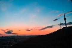 Заход солнца на башне Корее Сеула Стоковые Изображения