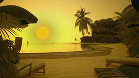 Заход солнца на береге океана с ладонью Стоковые Изображения RF