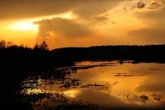 Заход солнца над болотистым озером Стоковое Изображение RF