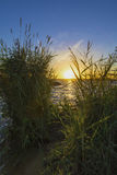 Заход солнца на верхнем пруде Iset Стоковое Изображение RF