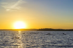 Заход солнца на верхнем пруде Iset Стоковая Фотография RF