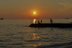 Заход солнца на взморье Стоковые Фотографии RF