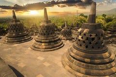 Заход солнца на виске Borobudur, Индонезии Стоковое Фото