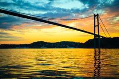 Заход солнца над висячим мостом в Бергене, Норвегии Стоковая Фотография