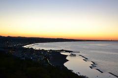 Заход солнца на видеть Стоковое Изображение