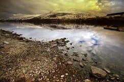 Заход солнца на водах Lochernhead Стоковое фото RF