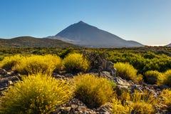Заход солнца над вулканом Teide в Тенерифе Стоковые Изображения