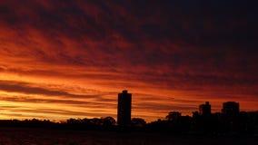 Заход солнца на гавани Стоковое Изображение