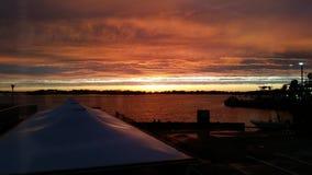 Заход солнца на гавани Стоковые Изображения