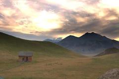 Заход солнца на горе около озера Sailimu Стоковое фото RF