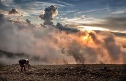 Заход солнца на горе Стоковые Фотографии RF