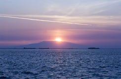 Заход солнца на горе Стоковое Изображение