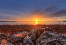 Заход солнца над горизонтом Стоковое Изображение RF