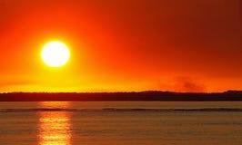 Заход солнца на городке 17 70 Стоковое Изображение