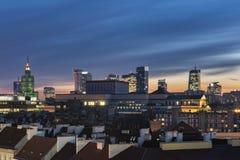 Заход солнца над городом Варшавы городским Стоковое фото RF