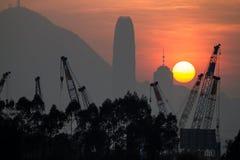 Заход солнца над городом Гонконга стоковая фотография rf