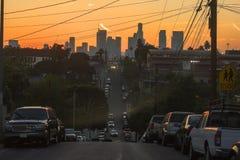 Заход солнца над городским Лос-Анджелесом стоковые фото