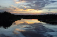 Заход солнца на голубой зоне консервации Cypress Стоковые Фотографии RF