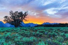 Заход солнца на грандиозном Tetons Стоковая Фотография