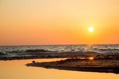 Заход солнца на Греции Стоковые Изображения RF