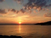 Заход солнца на Гудзоне Стоковое Изображение