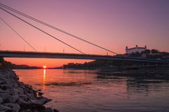 Заход солнца на Дунае/Братиславе Стоковая Фотография RF