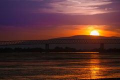 Заход солнца на Дунае на Молдавии Noua Стоковое Фото