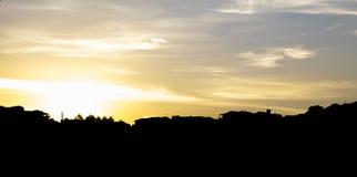 Заход солнца на деревне Стоковая Фотография