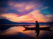 Заход солнца на держателе Batur Бали Стоковое Изображение