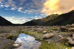 Заход солнца на леднике Frantz josef Стоковая Фотография RF
