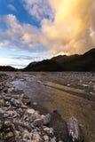 Заход солнца на леднике Frantz josef Стоковое Изображение RF