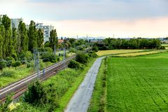 Заход солнца на железной дороге Стоковые Изображения