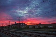 Заход солнца на железной дороге Стоковая Фотография RF