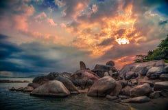 Заход солнца на животиках Hin yai Hin Стоковое Фото