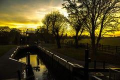 Заход солнца над замком стоковое фото rf