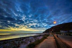 Заход солнца на западном береге, Llandudno Стоковая Фотография RF