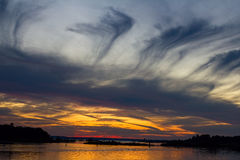 Заход солнца на заливе грузина - Waubushene Стоковая Фотография