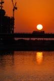 Заход солнца на заливе дела, Дубай Стоковое Фото