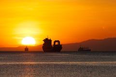 Заход солнца на заливе Манилы Стоковые Фотографии RF