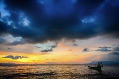 Заход солнца на заливе Таиланда Стоковое Изображение RF