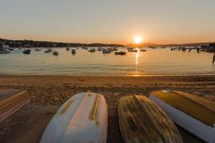Заход солнца на заливе Уотсона, Сиднее Стоковое Изображение