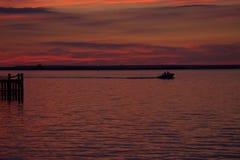 Заход солнца на заливе Стоковая Фотография